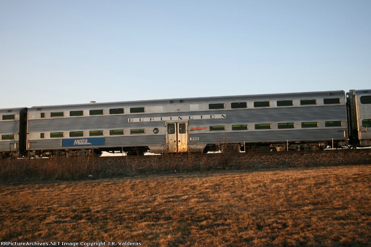 """Metra Shop forces applied """"Burlington"""" to nameplates of Select cars. Photo by J.R . Valderas"""
