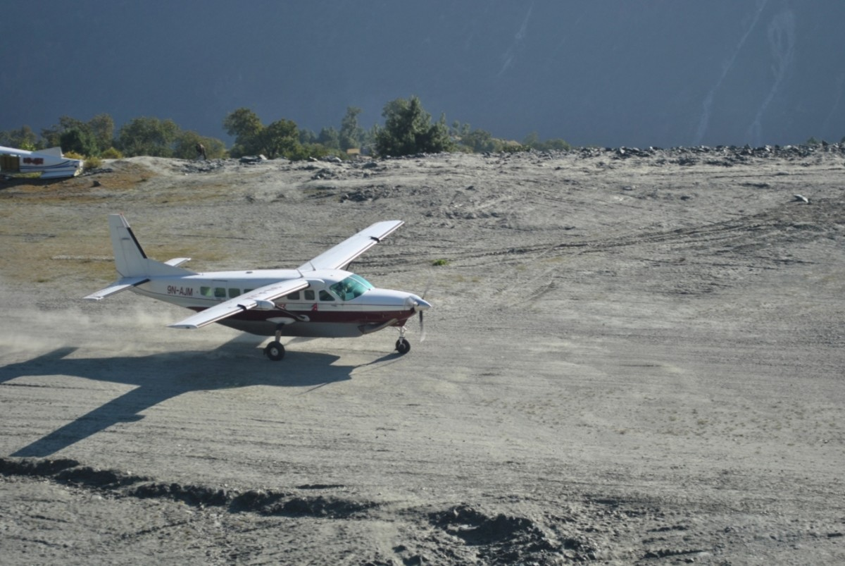 This is not Tenzing-Hillary Airport, one of the world's dangerous airports, but an airport like this is common in Nepali mountains. You have to trust your pilot.