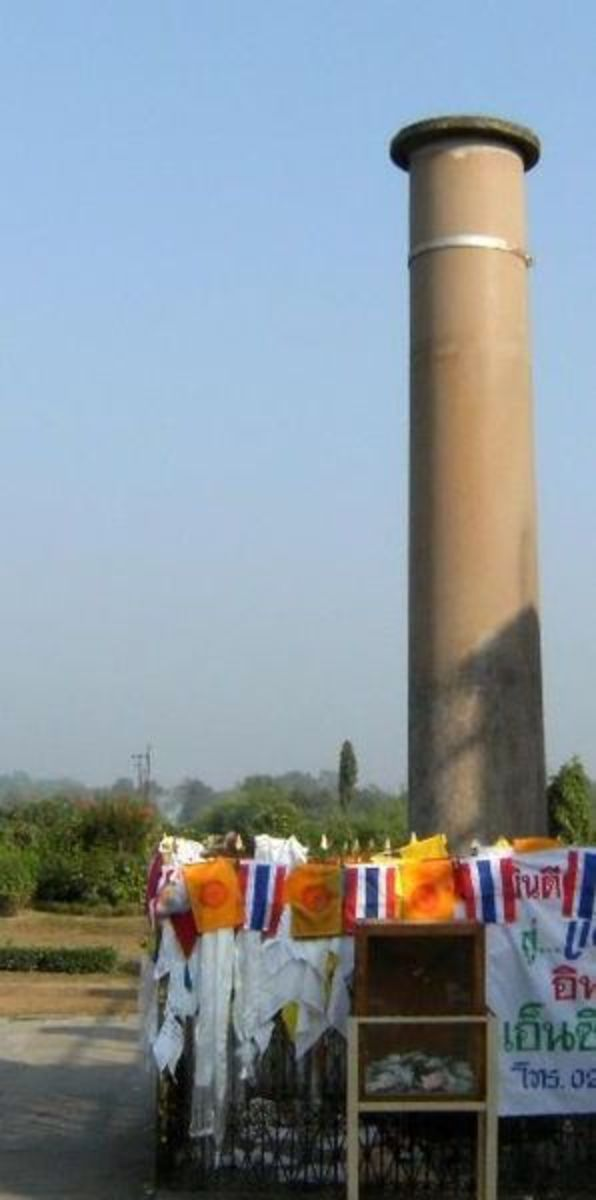A pillar erected by Indian King Ashoka to mark the birth place of the Buddha in 300 BC