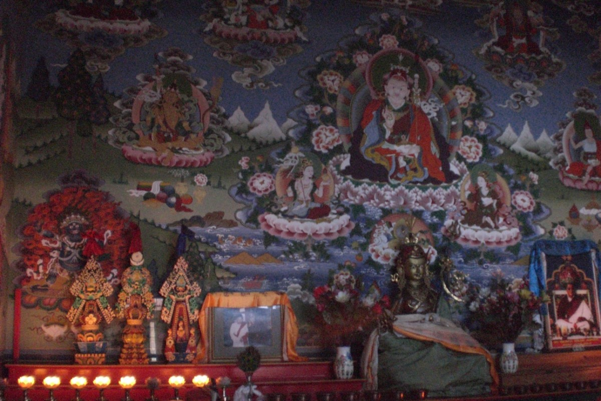 Temple and monastery walls in Nepal are painted with religious themes