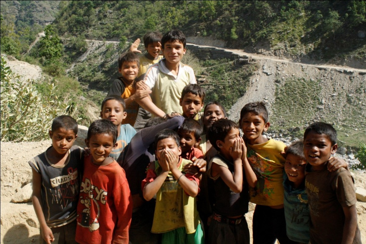 Children in rural Nepal asking for a click