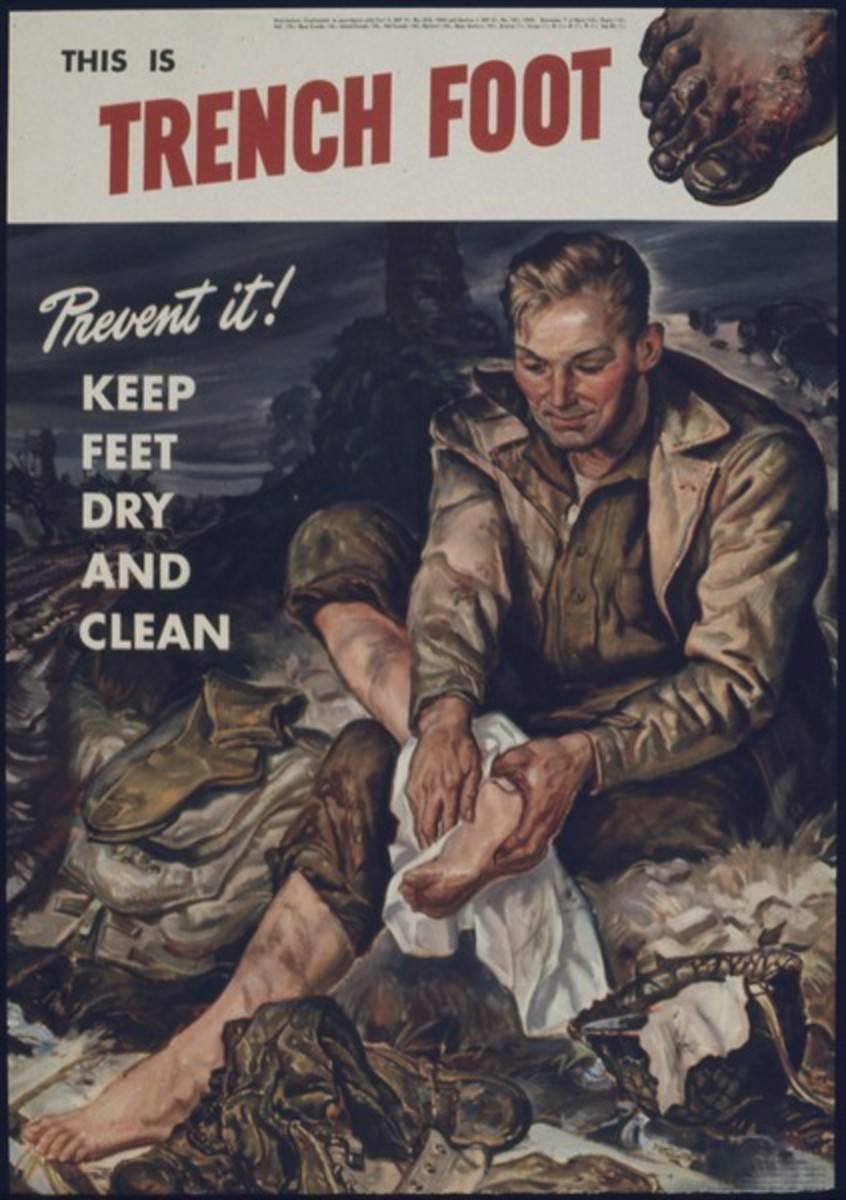 WW I poster warning soldiers the dangers of trench foot