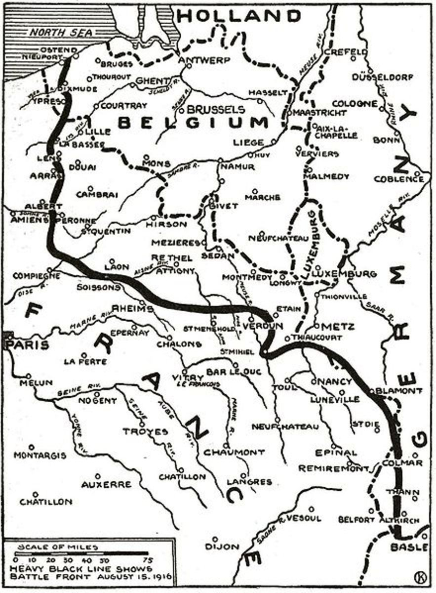 The Western Front was almost 700 kilometers long.