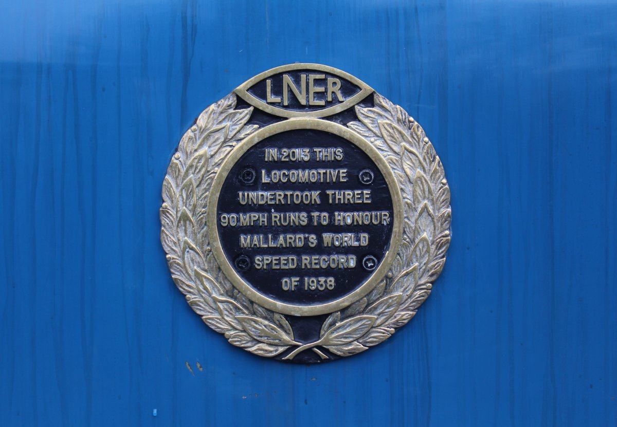 Mallard plaque attached to her boiler casing records the date and speed she achieved her record run in 1938, logged by Westinghouse technicians immediately behind the loco in...