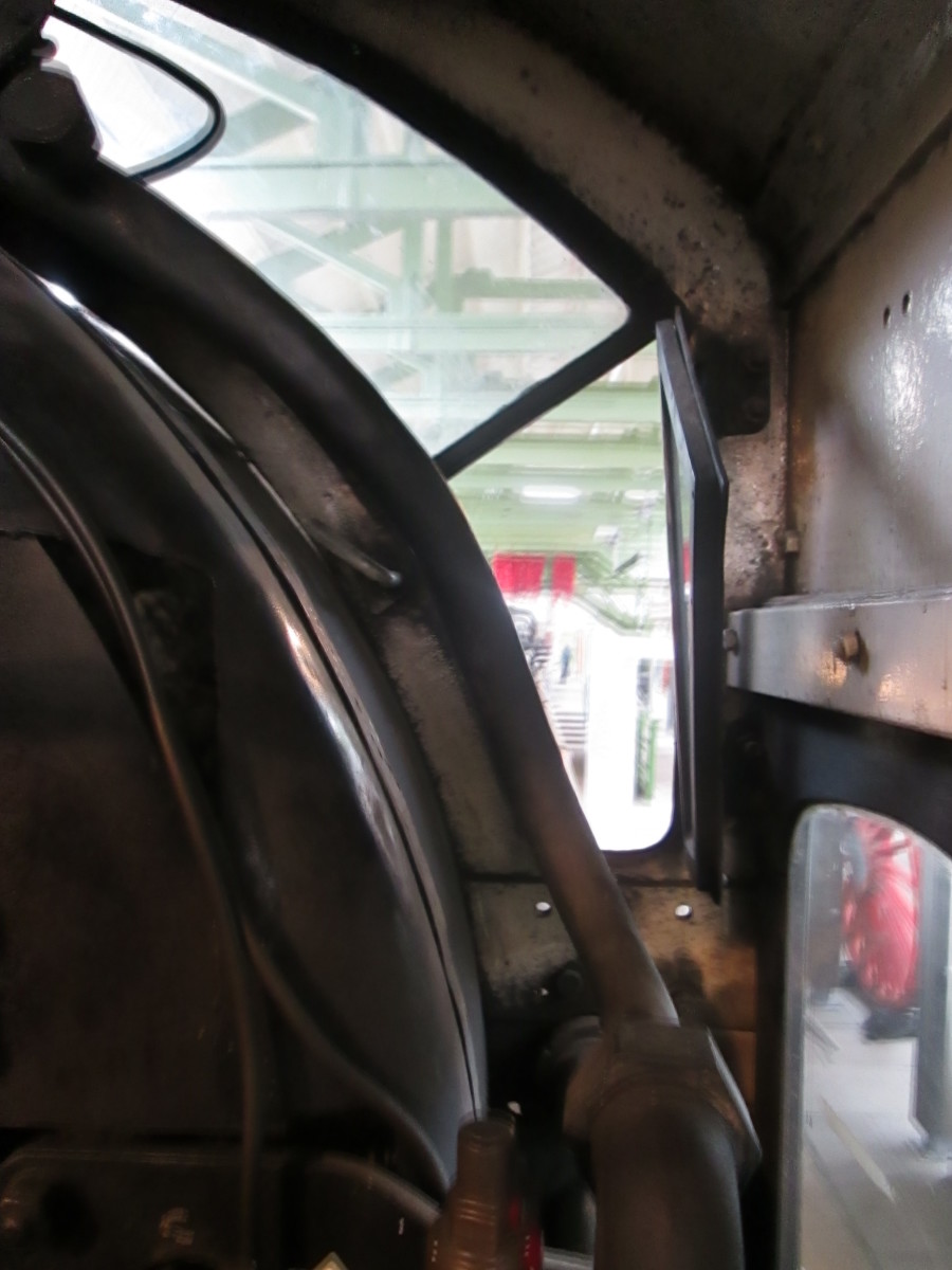 Driver's eye-view of the way ahead. The front aspect was a split window with adjustable glass panels for extra ventilation.