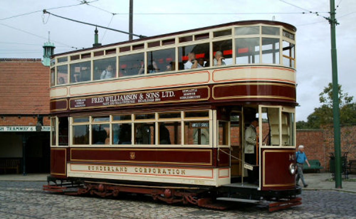 Beamish double-decker tram of early 1900s Newcastle Corporation vintage - I rode on a similar one in Leeds to Roundhay Park when I was around 10