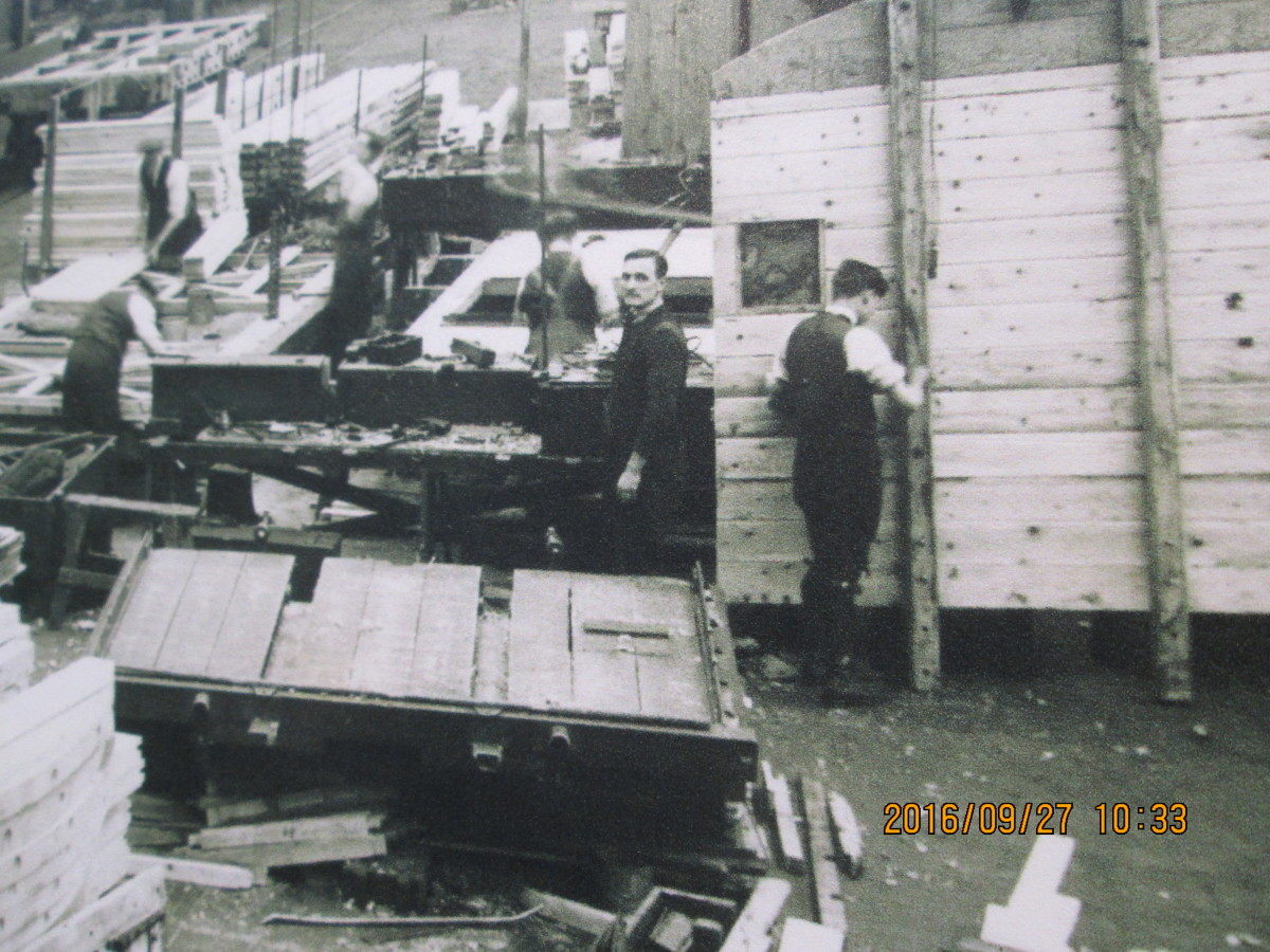 The timber store and sawmill, intermediary between underframe assembly and paintshop, a hive of activity in building new wagons or vans and replacements for burgeoning traffic to all corners of mainland Britain