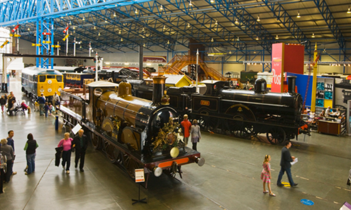 In the Great Hall from the NER footbridge, nearside LBSCR 'Gladstone' in its grand green livery (the CME was colour blind and no-one dared challenge him); behind is LNWR 2-2-2
