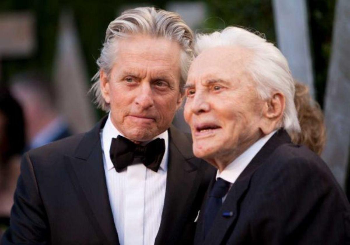 Kirk Douglas with his son Michael Douglas