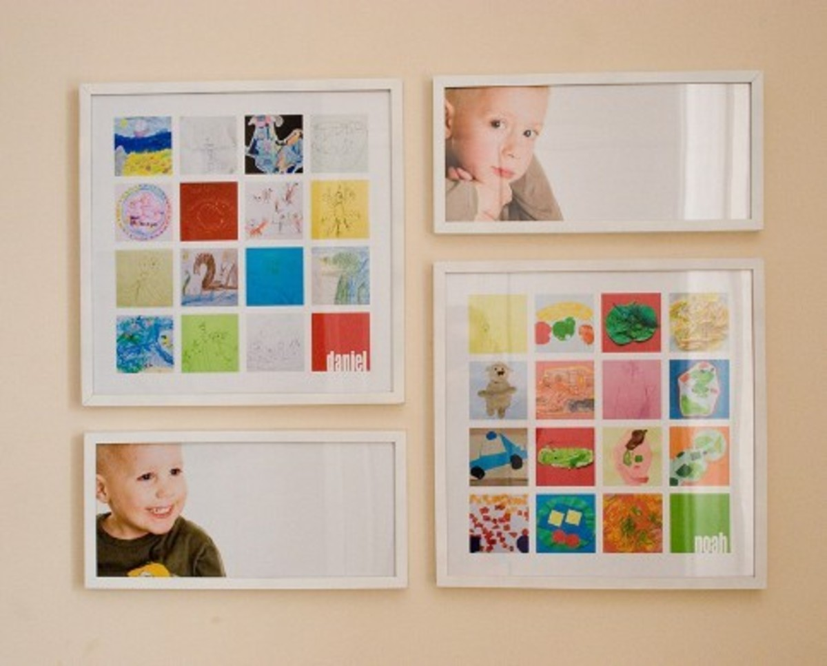 She took pictures and displayed them in a frame