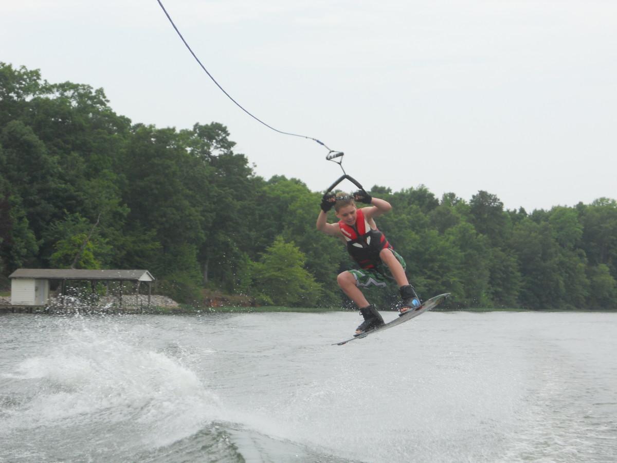 My son landing a jump