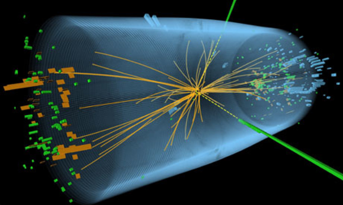 Signals of particles produced by a proton-proton collision at LHC.