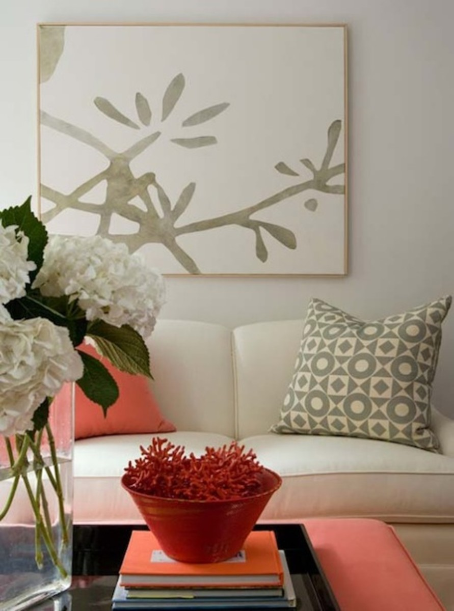 Coral and White Linen Theme. Coffee Table and Decorative Pillows.