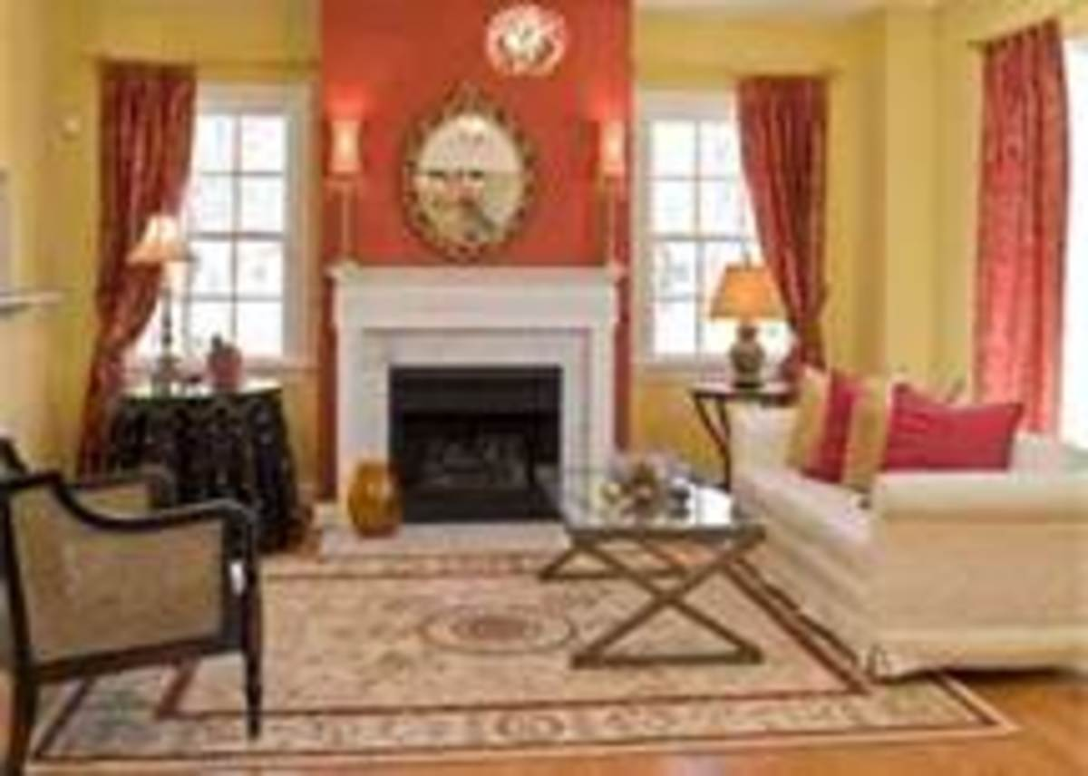 Coral & Yello Wall Theme. The Coral Over The Fireplace Sets The Focus.