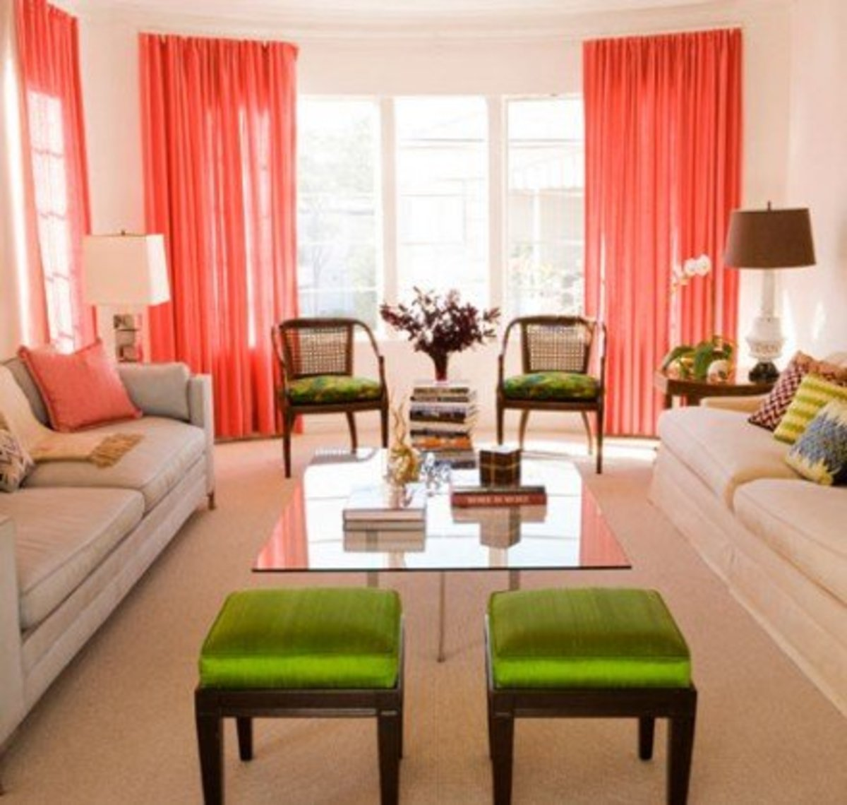 Coral and Lime Green Theme.Window Drapes and Decorative Pillows. Breathtaking!