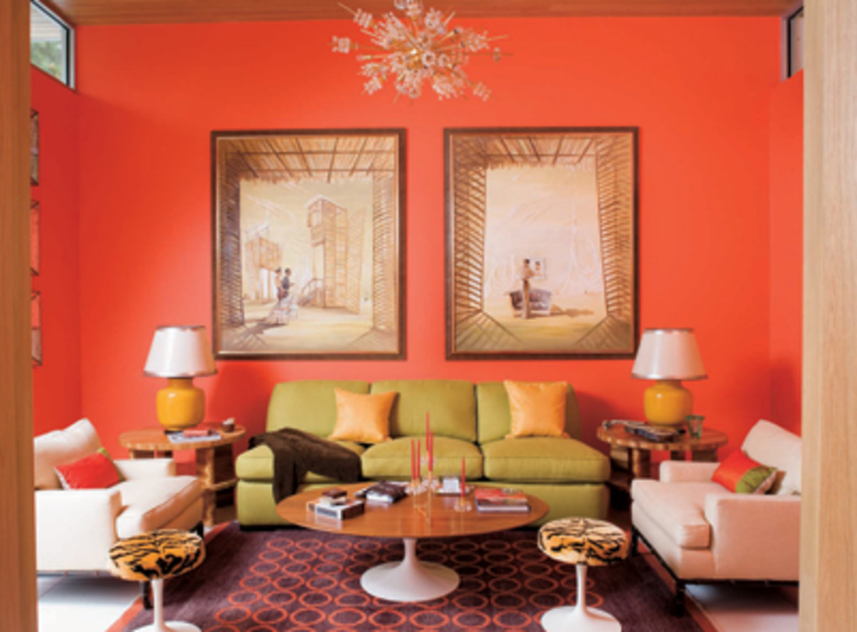 All Coral Wall Theme With Lime-Green Sofa & A Touch of Yellow in the Lamp.