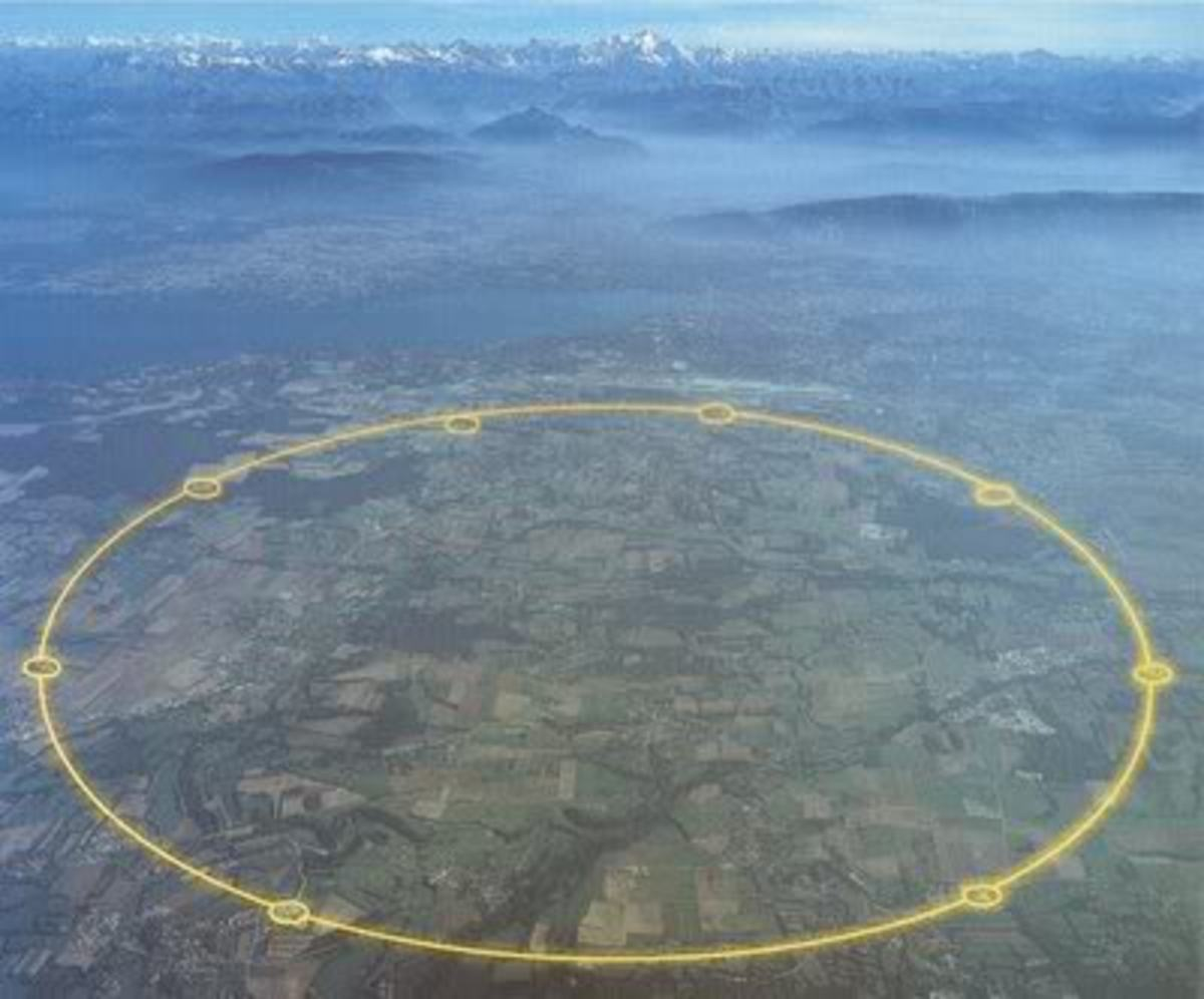 The Large Hadron Collider (LHC) particle accelerator is inside a tunnel outlined in this photo.  The tunnel is 17 miles long an 574 feet below ground.