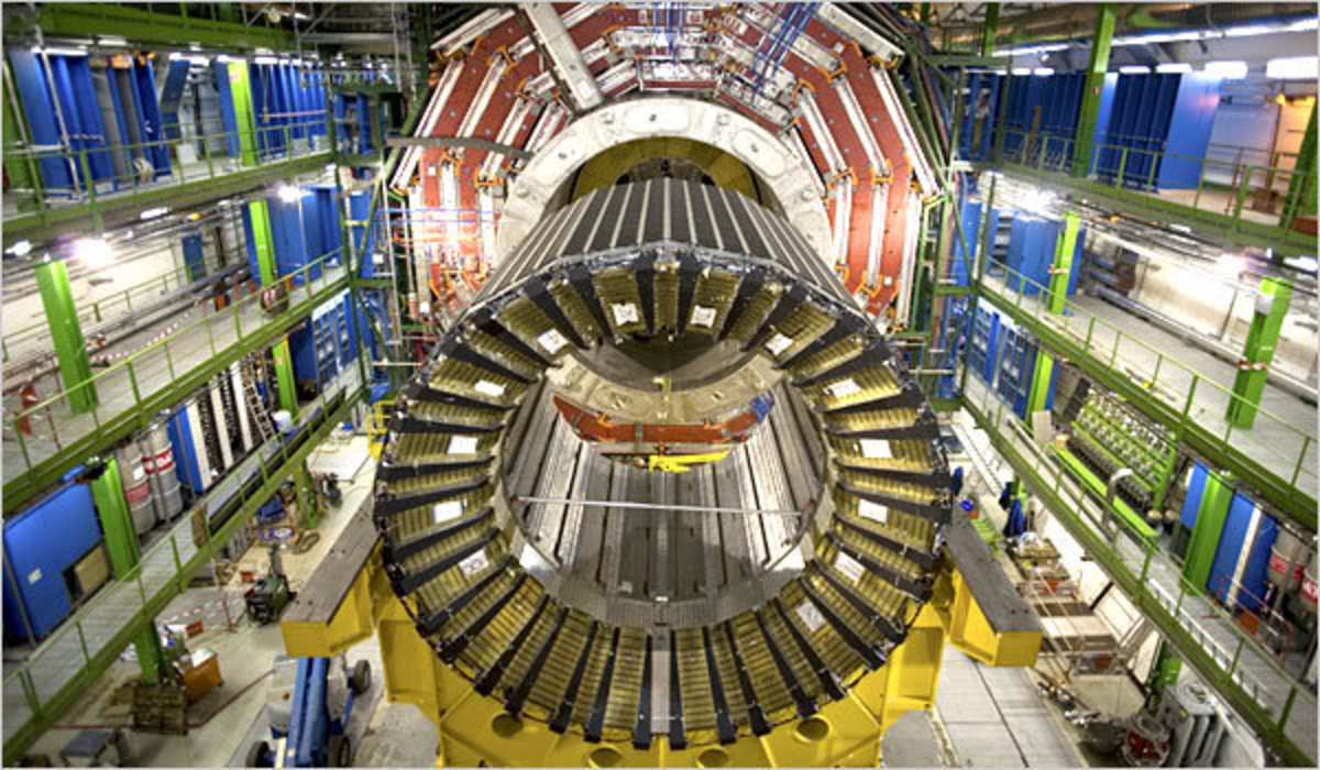 Inside part of the Large Hadron Collider (LHC) particle accelerator in Geneva, Switzerland.