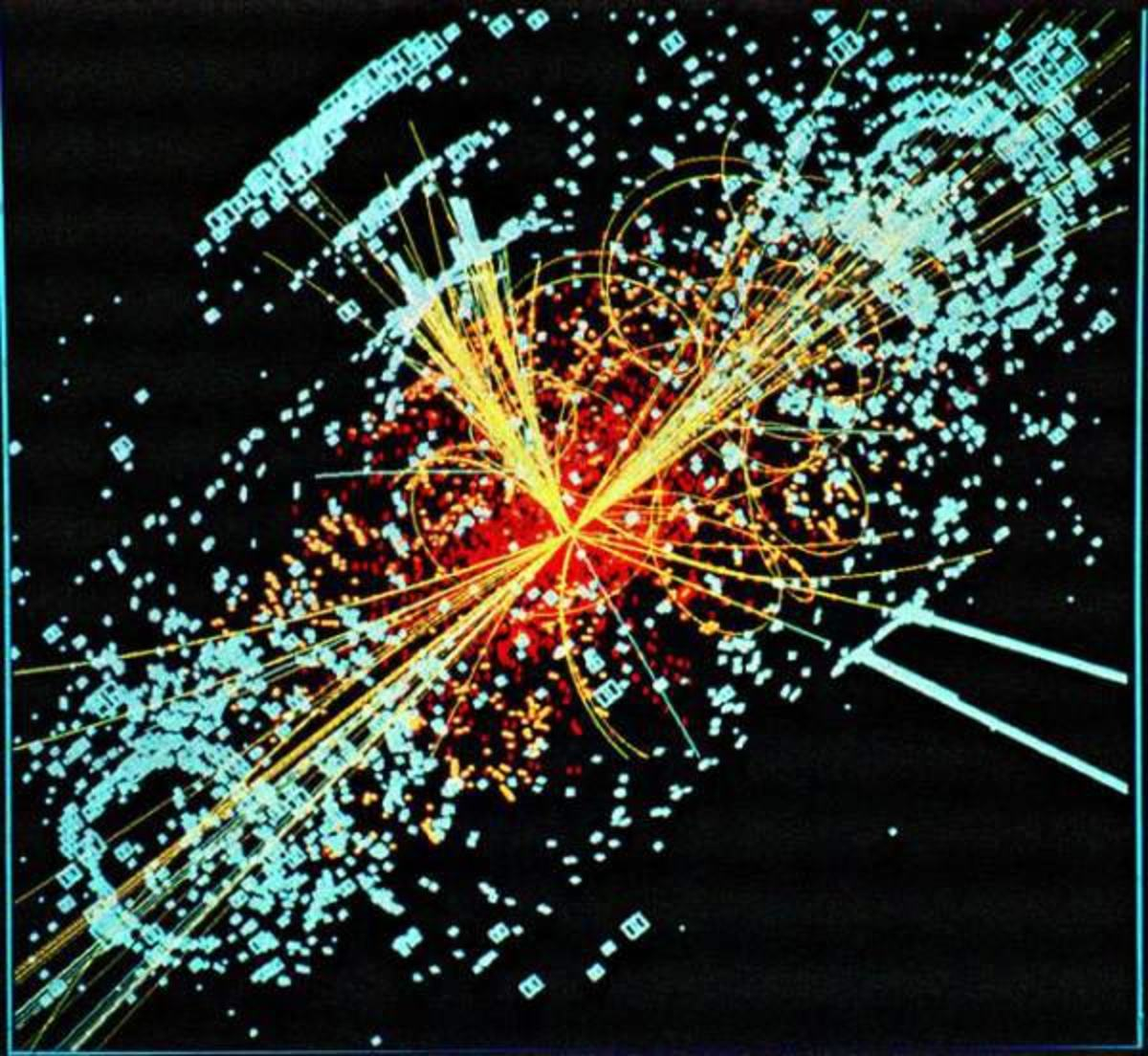 Representation of the collision of particles inside the collider.