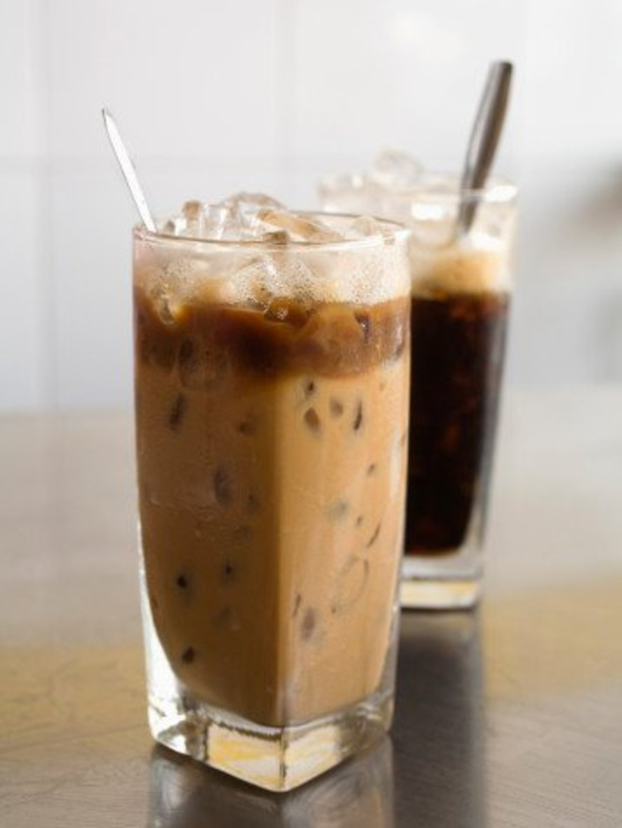 icy milky coffee and ice black coffee
