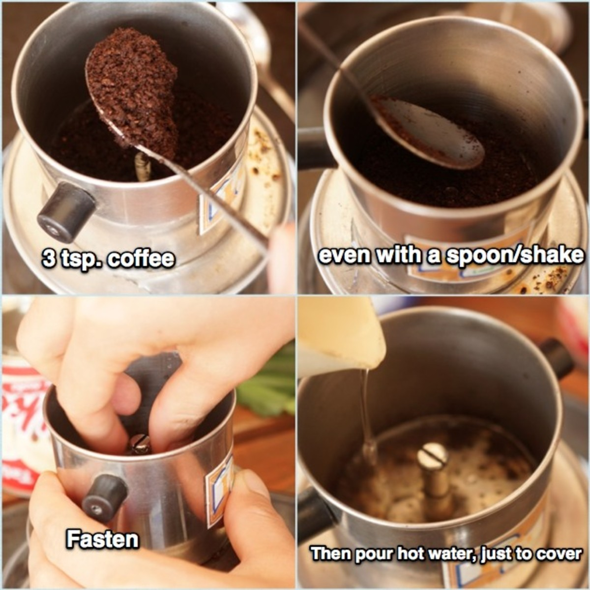 Place the cup to the bowl cover with hot water, add 3 tsp coffee into the filter, even the surface with a spoon or/and shake, then fasten, a bit loose, and pour hot water just to cover the coffee.