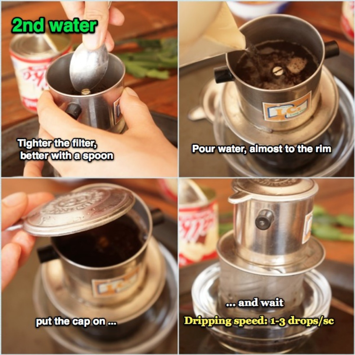 When the first dripping done and coffee is warmed up and raises in volume, fasten the filter further then pour water 3/4 the filter, about 1/2 cup of hot water and put the lid on. If it drips too fast, use the spoon to pin the filter-fastener further
