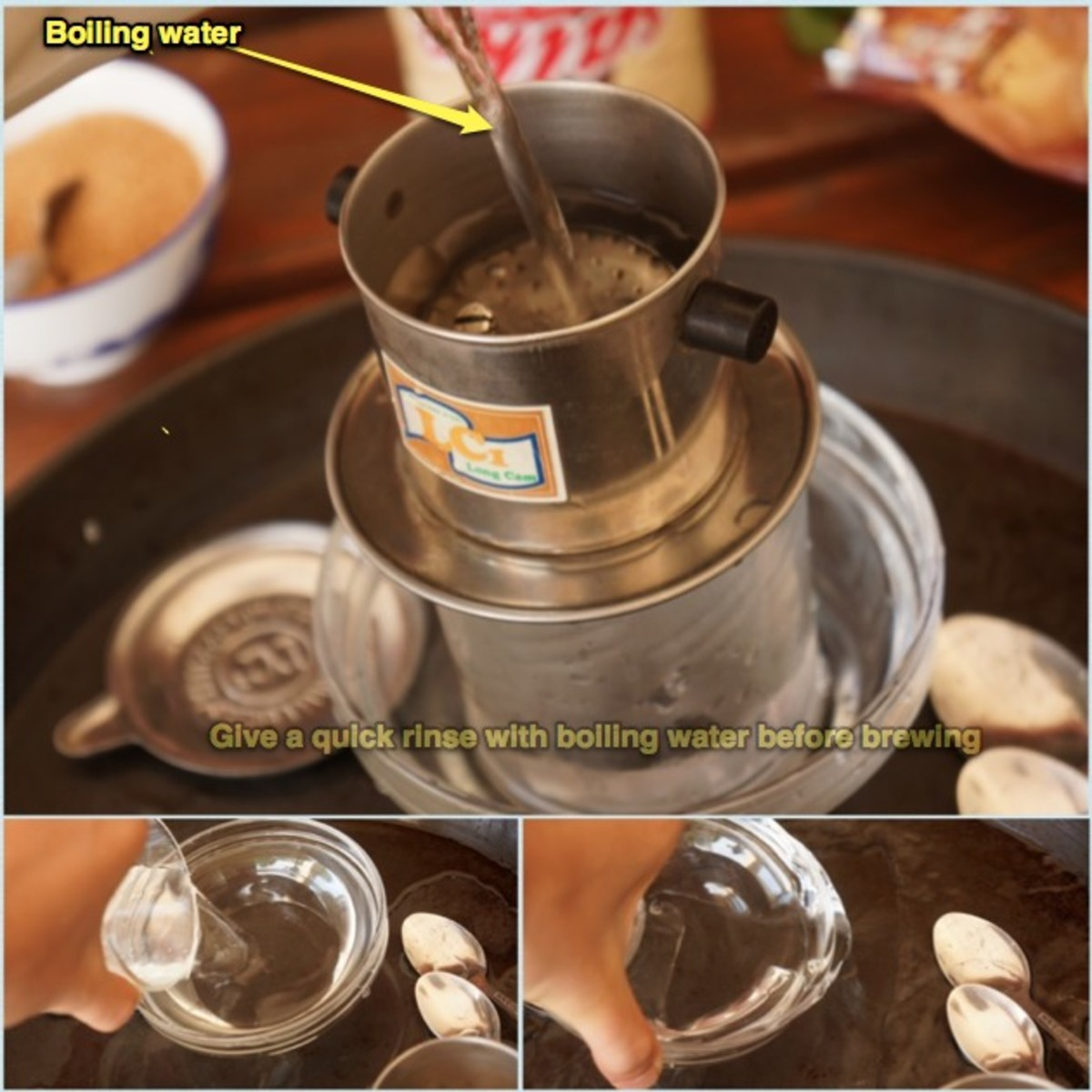 Warm up tools: Pour hot water over the filter and the bowl then get rid of the water.