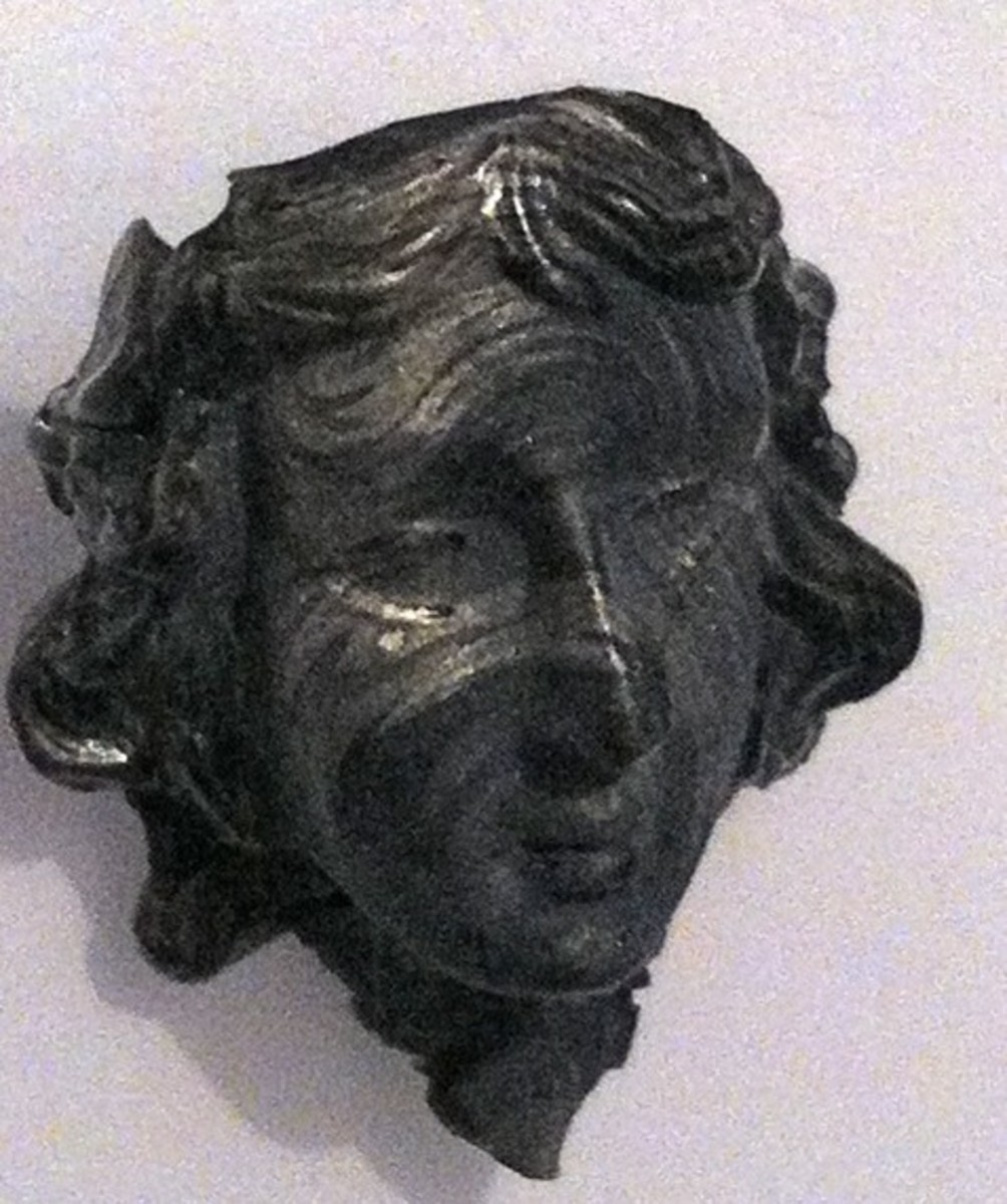 Roman Lady - mold and UTEE, painted with mica for antiquing effect