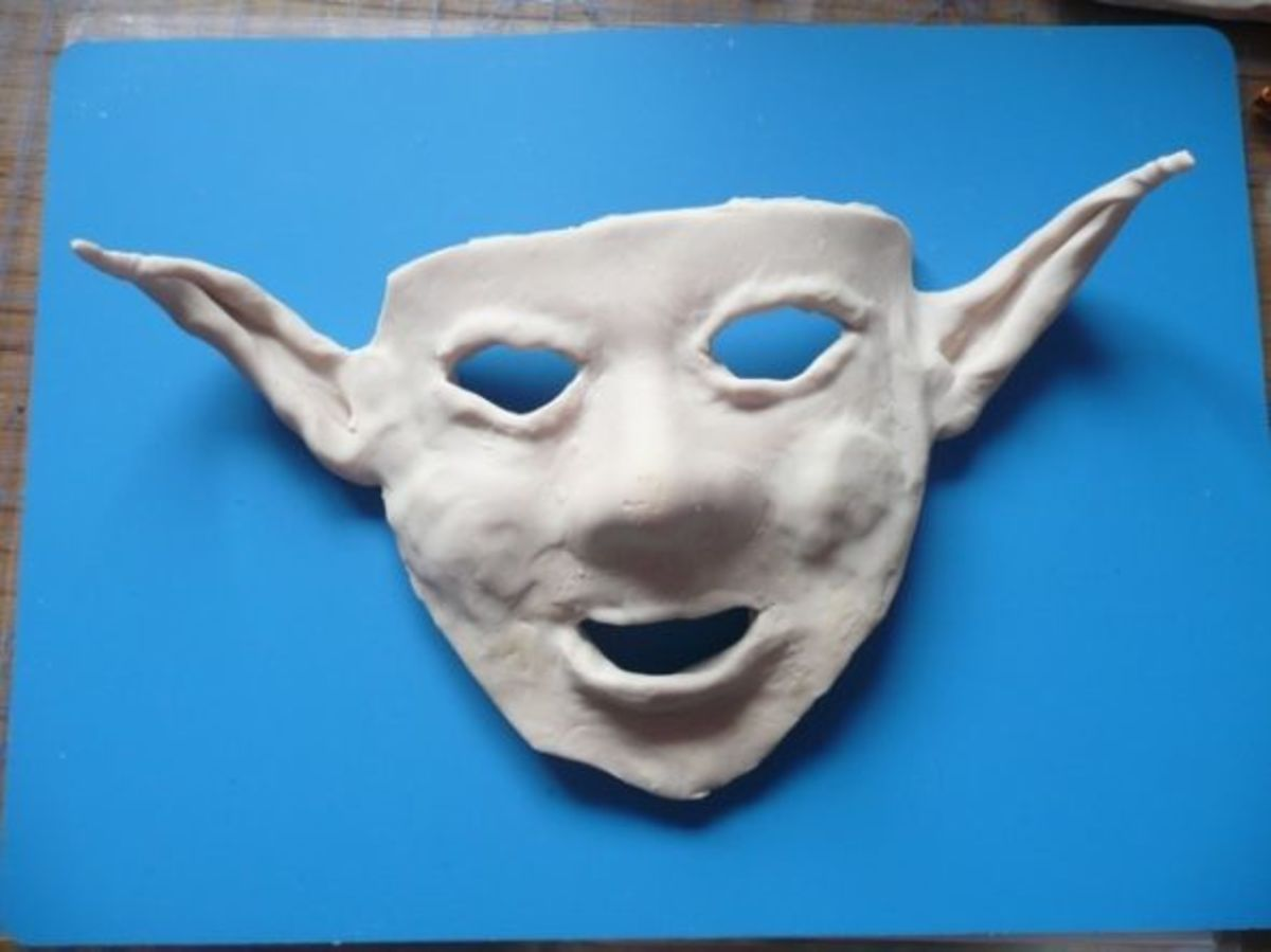 Here is the polymer clay mask I began with, having created this from Sculpey clay