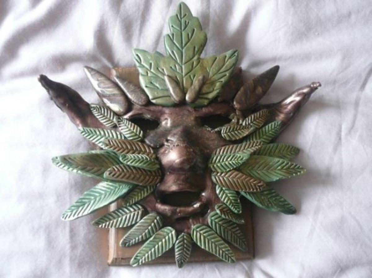 The finished green man was turned into a plaque