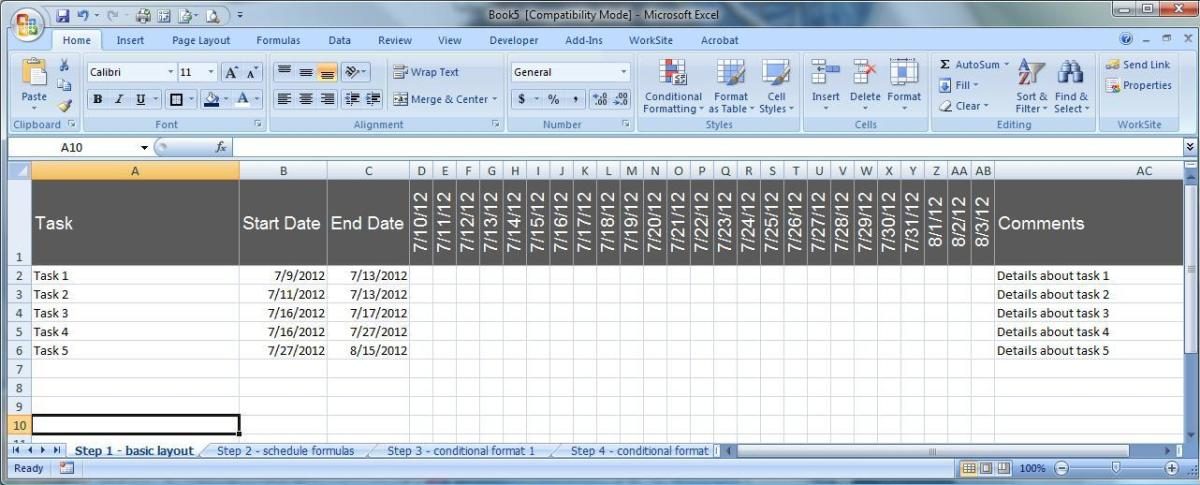 Formatting the basic Excel schedule