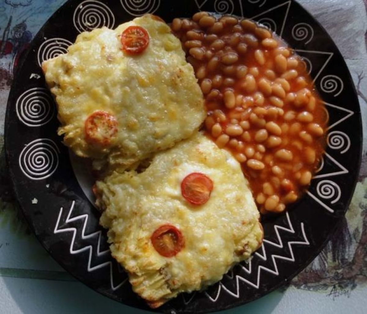 Mashed potato and cheese on toast