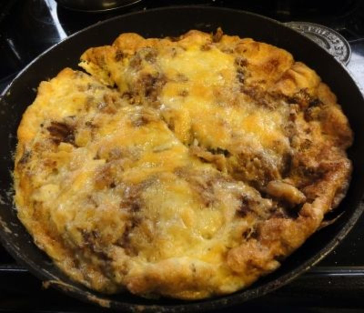 Vegetable, Potato and Cheese Omelette