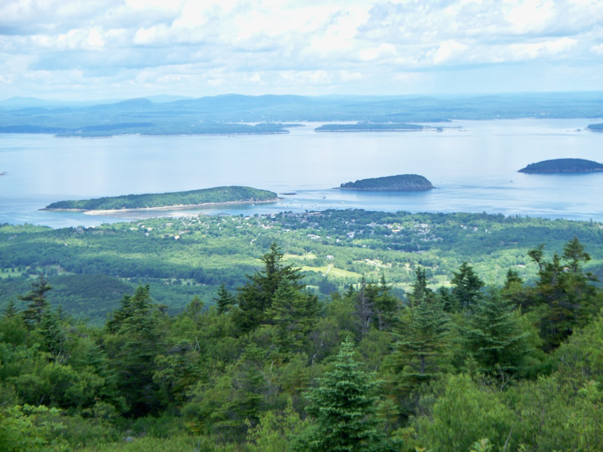 Looking down on Bar Harbor from Cadillac Mtn