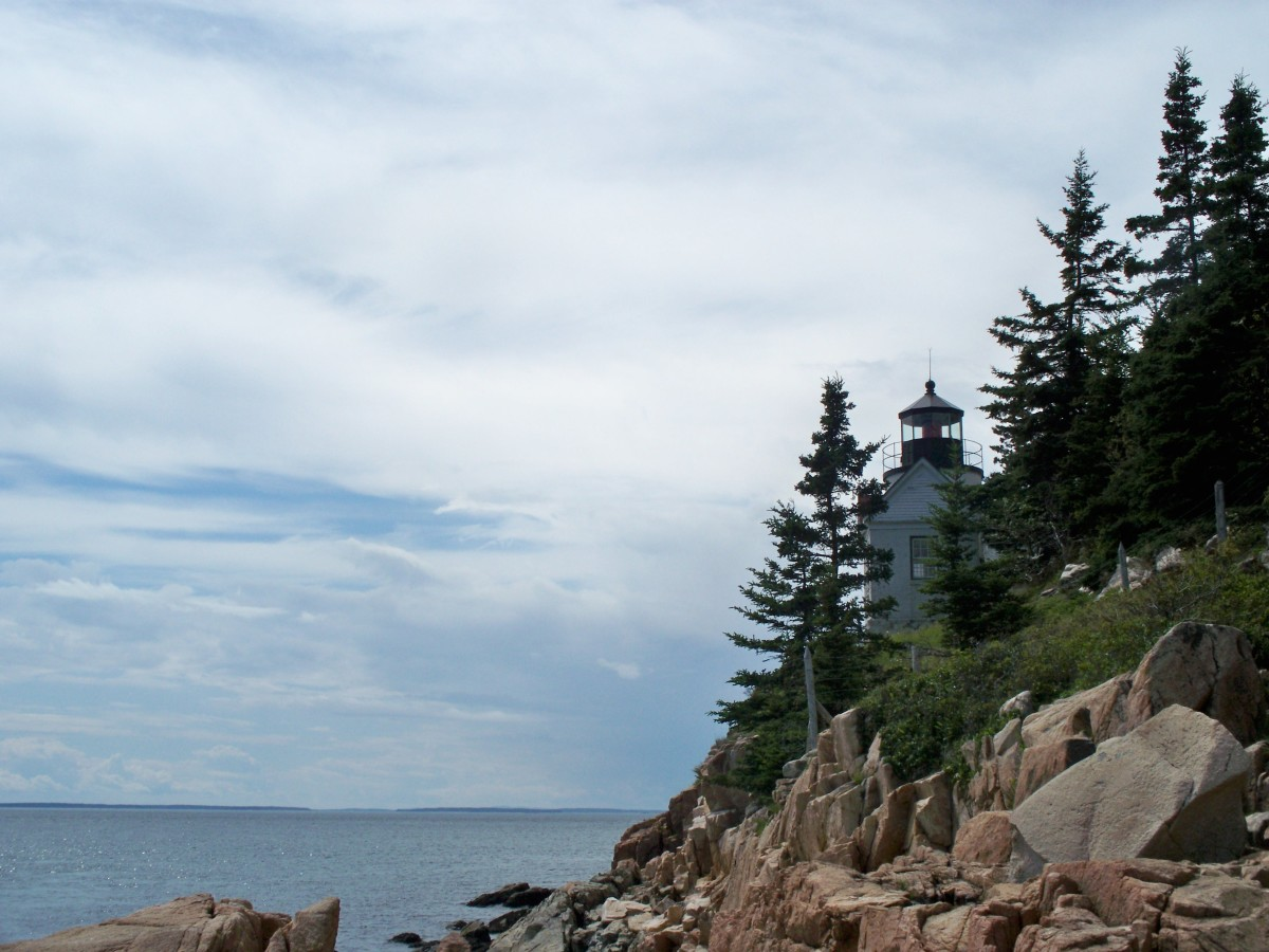 Bass Harbor Lighthouse viewed from the rocks below