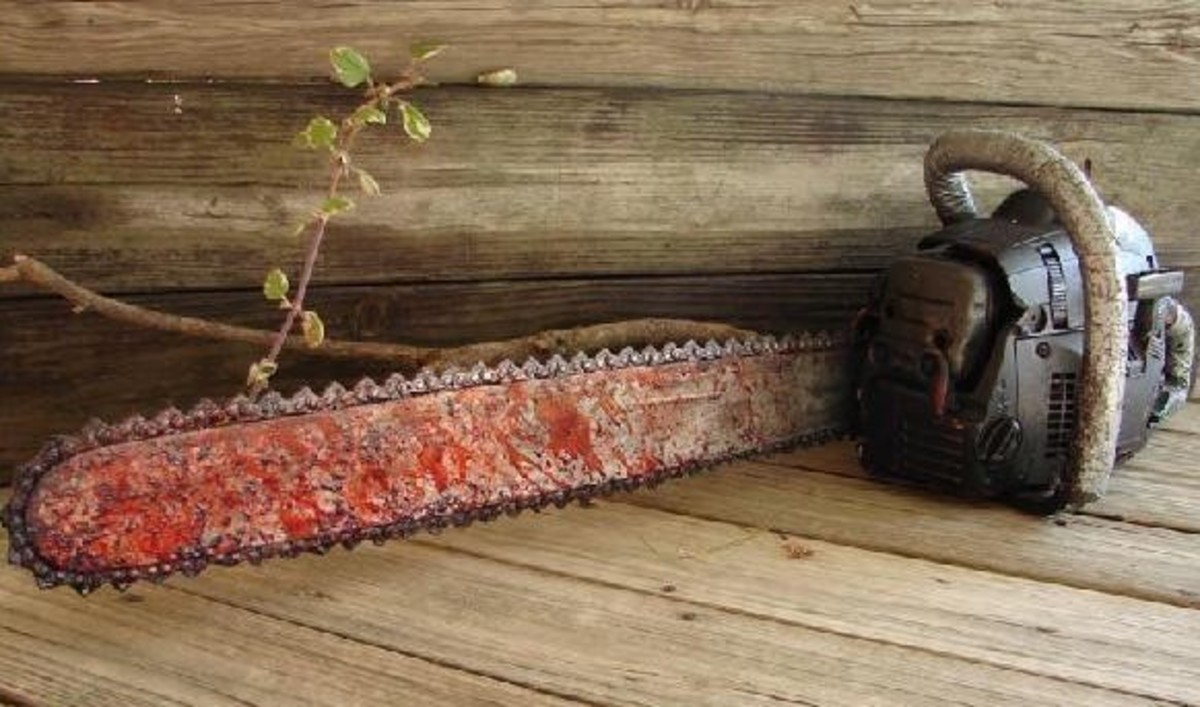 Cover yard and garden tools with fake blood for a scary effect