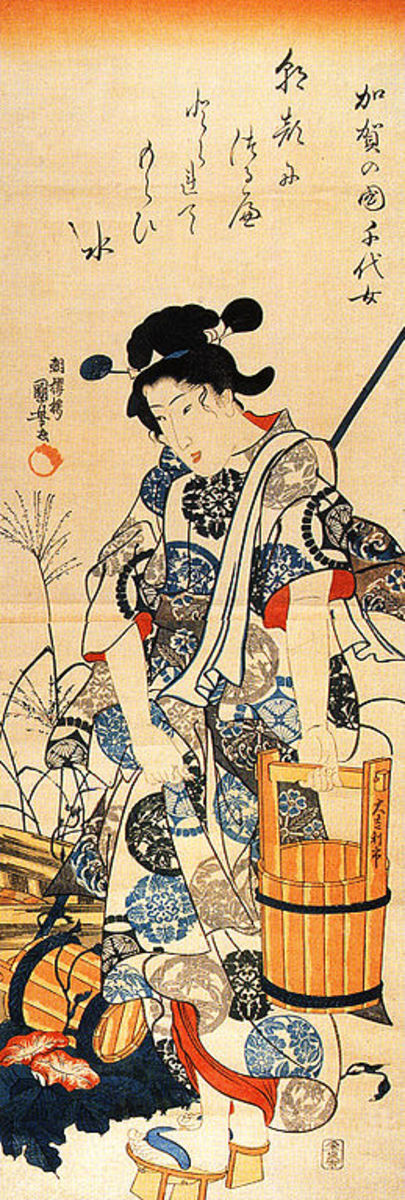Chiyo-ni probably didn't look this much like a geisha, but this picture by a well-known artist shows how famous she was a century after she lived.