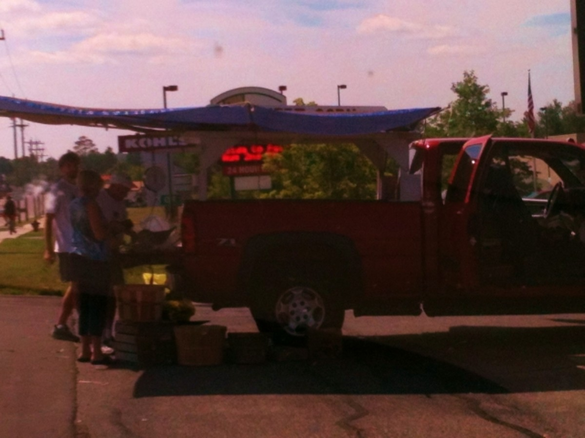 Corn man and his truck.