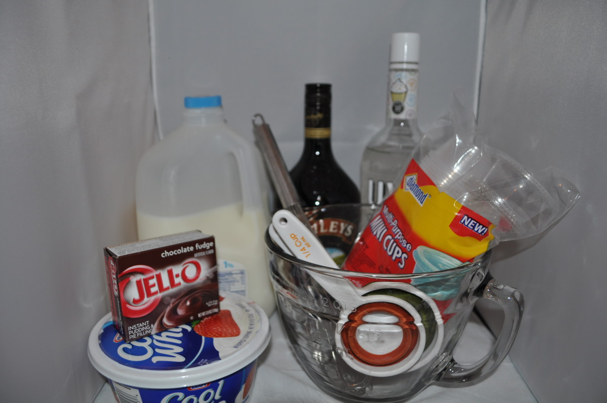 Get your ingredients and tools and and get ready to make some adult pudding.