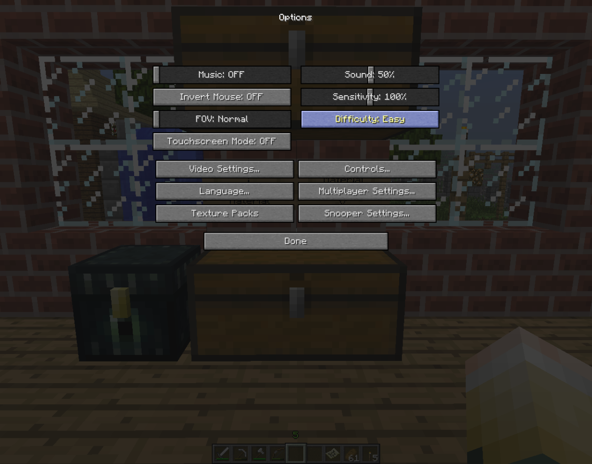 It is easy to change the difficulty of your current Minecraft world in the game options.