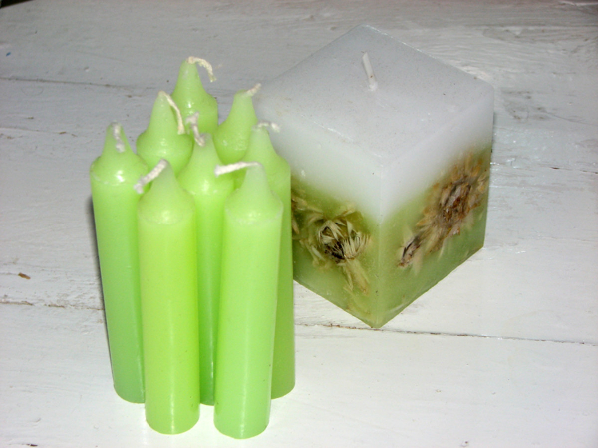 Candles can be bought in a wide range of colours, shapes and sizes.