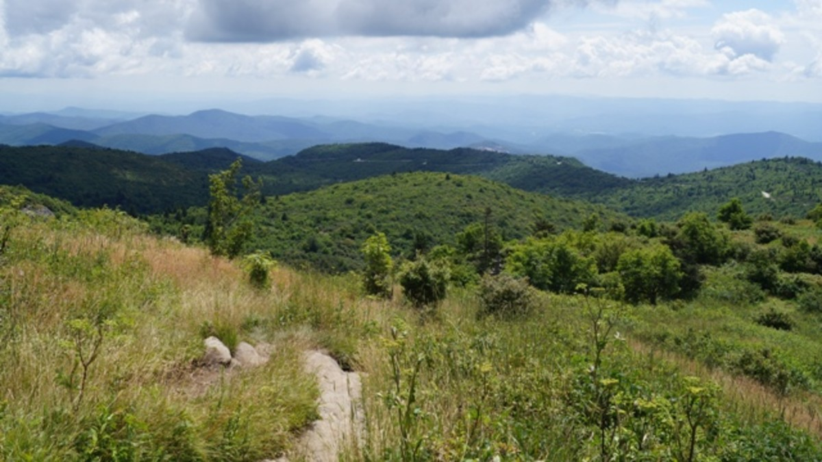 The view on the way up to Black Balsam Knob.  You can see the Blue Ridge Parkway in the background.