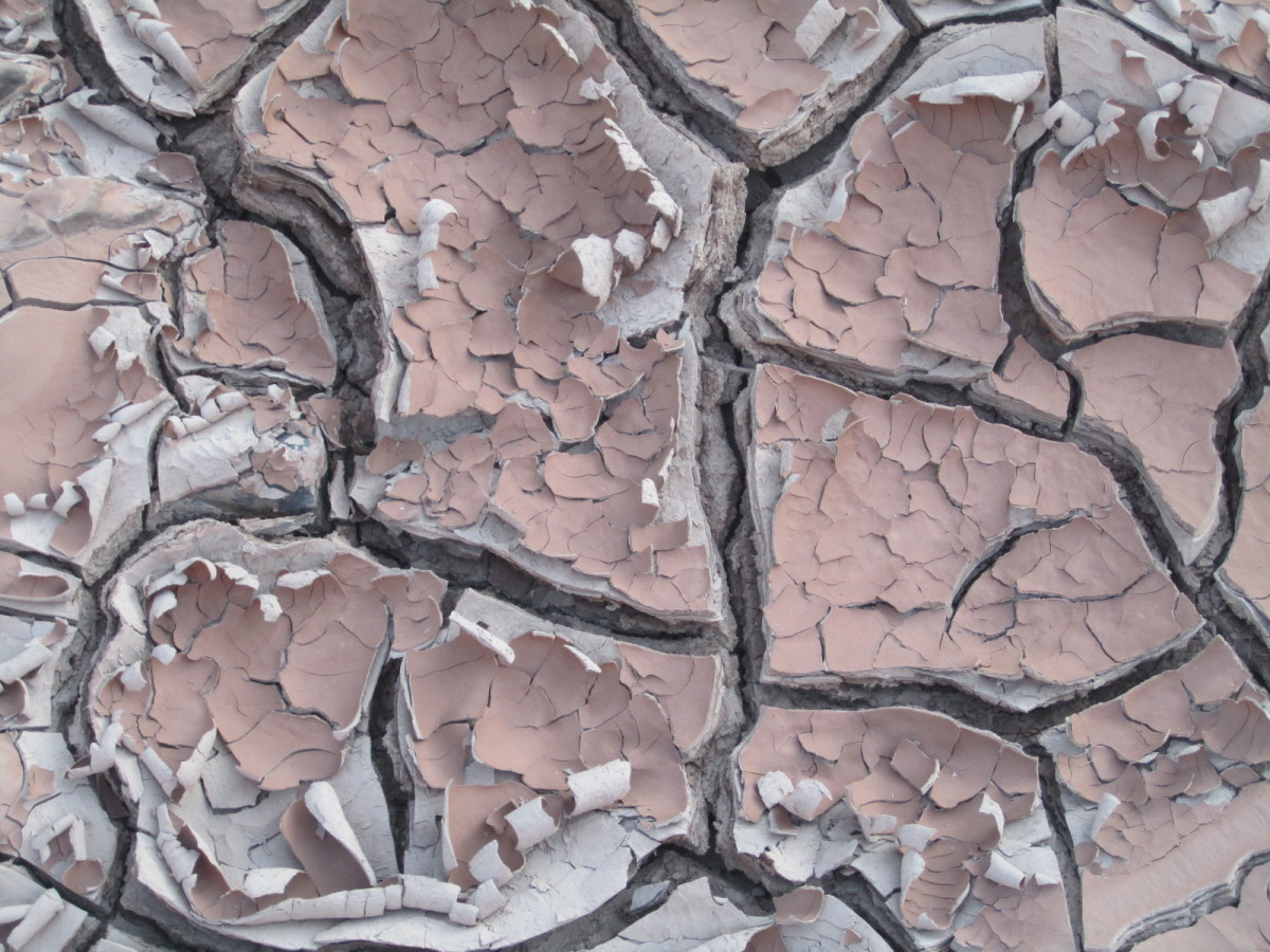 Dry, cracked mud at the base of Grand Falls