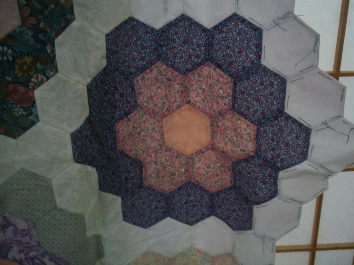 This double flower block is part of the bigger quilt.