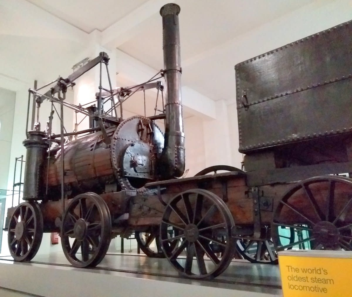 """Puffing Billy"", the world's oldest steam locomotive constructed in 1814 - On view in the Science Museum, London"