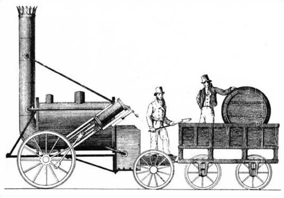 "Robert Stephenson's ""Rocket"", the first practical steam locomotive."