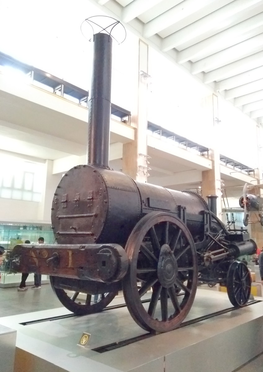 Stephenson's rocket, built in 1829 for the London & Manchester Railway. On display at the Science Museum, London