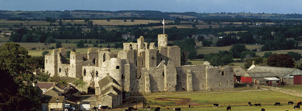 Middleham Castle from the south -  evident from the foreground is Middleham's modern role as a training centre for racehorses, a role Richard would have endorsed heartily