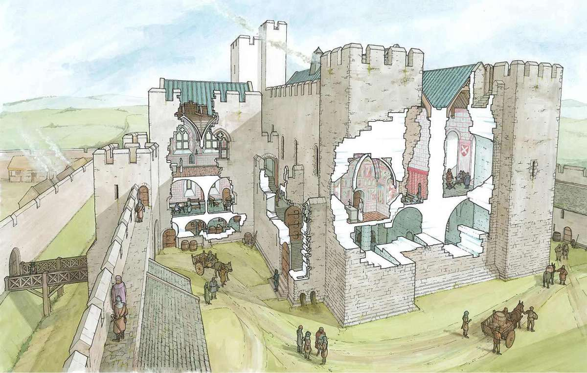 Reconstructed cutaway painting of Middleham Castle seen from the opposite corner shows the approach to the workshop outbuildings