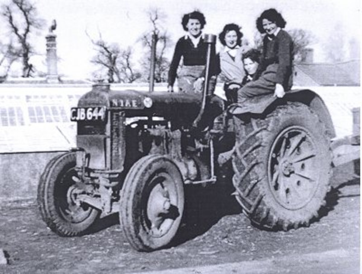 Land Girls on a tractor